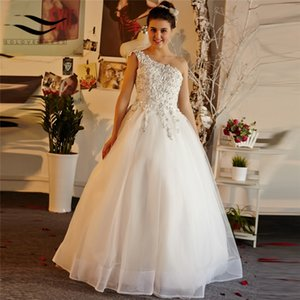 2020 Charming A Line Wedding Dress One Shoulder Beading Crystal Tulle Wedding Dresses Floor Length Lace Up Bridal Gowns