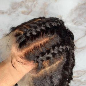 Hetero parte dianteira do laço completo do cabelo humano perucas para as mulheres brasileiras Remy # 1 # 2 # 4 Pré arrancada Bleached Nós Glueless