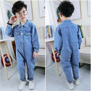 Children Clothes 2019 Spring Autumn New Fashion Brand Cotton Denim Jumpsuit Unisex Baby Solid Overalls Loose Rompers 2-8t Ws333