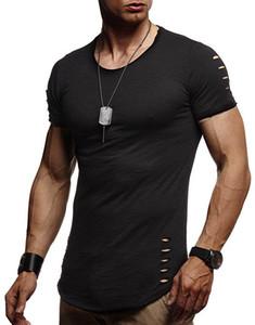 Mens Solid Color Сломанные Рубашки мужские Hole Fit Sport Рубашки Homme Тощий Рубашка мужская одежда Короткие