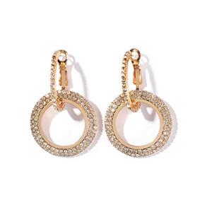 Nuovi orecchini di moda di design di lusso in cristallo di strass argento oro cerchio grande cerchio ciondola gli orecchini per le donne regalo signora gioielli partito