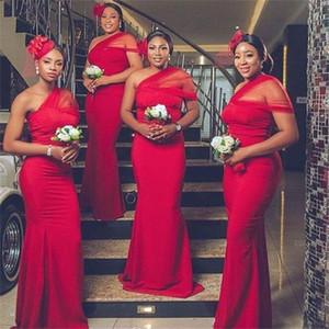 2020 African Mermaid Bridesmaid Dresses Plus Size One Shoulder Satin Maid Of Honor Gowns Floor Length Wedding Guest Dress