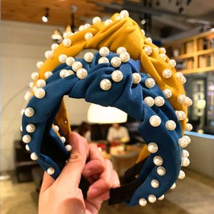Girls Full Pearl Hair Sticks Bows Korean Style Headband Candy Color Women Charming Hairband Bowknot Boutique Hair Accessories