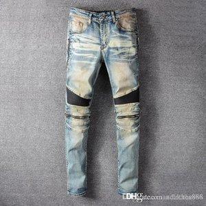 mens 2020 luxury designer jeans Clothing designer pants slp blue black destroyed mens slim denim straight biker luxury jeans designer pants