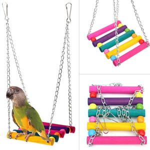 Natural De Madeira Papagaios Balanço de Pássaros de Brinquedo Gaiola Pendurado Balanços Gaiola Com Contas Coloridas Sinos Brinquedos Suprimentos Pássaro