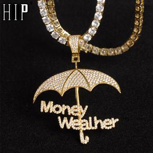 Hip Hop Iced BLING Micro Pavée CZ Umbrella argent Wealher Pendentifs Colliers pour hommes Rapper Bijoux Avec chaîne Tennis