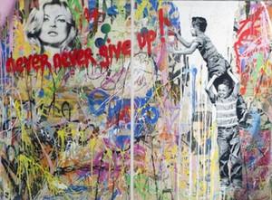 Herr Brainwash Ölgemälde auf Leinwand Graffiti-Kunst Geben Sie nie Kate Moss Wall Art Wohnkultur Handbemalte HD Print 191021
