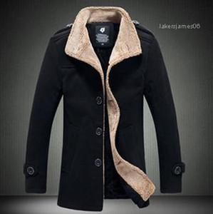 Cuello de manga larga ropa de abrigo informal de mediana edad y Elder abrigos para hombre otoño invierno Medio diseñador Longitud capas de foso de la solapa