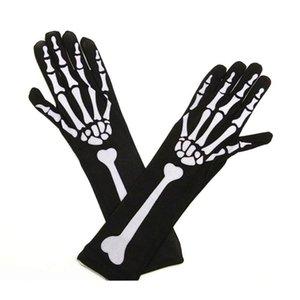 Womens Halloween Cosplay Skull Skeleton Bone Gloves Thigh High Socks U50F