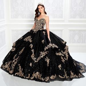 Brilhante Preto bola frisada Vestido Quinceanera Dresses Querida Neck Lace Appliqued Prom vestidos de lantejoulas Trem da varredura Tulle doce Vestido 15