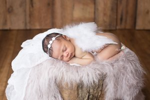 FK46 handmade mini flower head with Angel feather and props wings baby photography props photo studio set