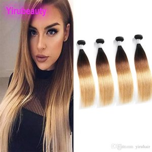 Peruvian Human Hair 1B 4 27 Ombre Virgin Hair Silky Straight 1b 4 27 Double Wefts 4 Bundles Straight Cheap Wholesale