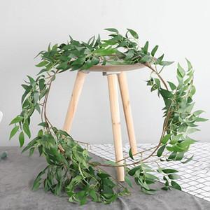 1.7M Gri / Yeşil Fotoğraf Dikmeler Düğün Bahçe Dekorasyon Çelenk Şenlikli Simülasyon Söğüt Yapraklar Yapay Söğüt Vine