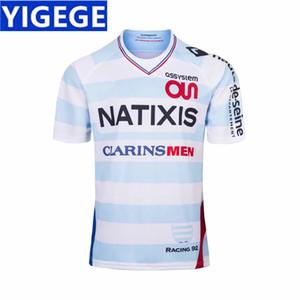 RACING 92 INICIO RUGBY JERSEY 2018/19 nuevo francés blanco RAClNG92 bordado ropa de rugby código europeo tamaño estándar S-3XL (se puede imprimir)