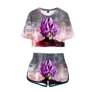 Summer Anime Dragon Ball Goku 3D Deux Piece Set Cartoon dragon femmes balle super Broly à manches courtes T-shirt court Définit sexy