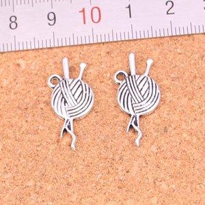 156pcs fascini uncinetto maglia sfera del filato argento antico dei pendenti placcati fanno DIY tibetano Handmade Silver Jewelry 26 * 12mm