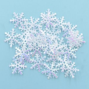 200Pcs 20mm Iridescence Snowflake AB Tuch Appliques Hochzeit / Party / Weihnachtsdeko Zubehör Patches DIY-Verzierung S87