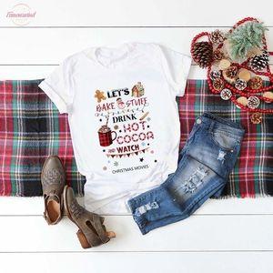 Bake Stuff İçecek Sıcak Kakao Ve İzle Noel Film Tişörtlü Kadınlar Moda Grafik Sevimli Tee Üst Estetik Kawaii Gömlek edelim