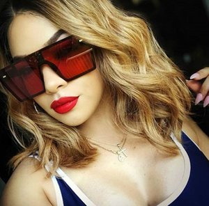 8 Colors Oversized Square Sunglasses Fashion Women Men 2019 Luxury Flat Top Gradient Glasses Fashion Accessories Wholesale Mix Orders 2020