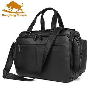 Big Size große Kapazitäts-Weinlese-echtes Leder-Taschen Männer Taschen Messenger-Business Travel 16 '' Laptop-Aktenkoffer-Portfolio