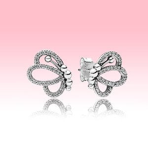 NEW Funkelnde Perforierte Schmetterling-Bolzen-Ohrringe arbeiten Frauen Schmucksachen für Pandora Sterlingsilber 925 Ohrring-Set mit Original Box