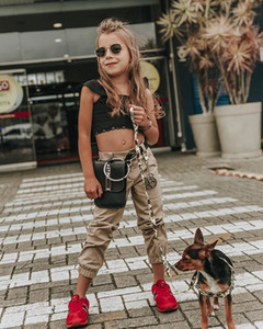 Summer girls outfits 2020 new INS baby kids ruffle fly sleeve tank top +khaki casual pants 2pcs children casual sets A2763