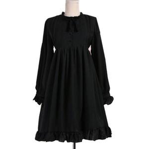 Japon Tatlı Kawaii Lolita Elbise Kadınlar Uzun Kollu Standı Yaka Ilmek Vintage Victoria Gotik Elbise Prenses Parti Elbise