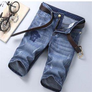 2020 New Summer Mens Holes Denim Shorts Fashion Men Denim Jeans Slim Straight Pants Trend Mens Pants