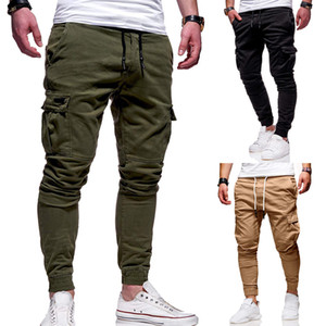 Pantalon rayé pur Cargo Pantalons Homme Sport Skinny Fitness Hommes Pantalons Mode Drawstring Vêtements de course