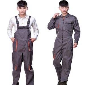 El trabajo de los guardapolvos de los hombres de las mujeres de la bata protectora del mono de la correa de los pantalones reparador de monos sin mangas Tamaño Plus uniformes de trabajo