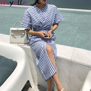 2019 Korean Summer / 가을 Women면 Dress Blue Striped Bandage Split 우아한 긴 Dress 암 긴 Bodycon Office Lady Dress