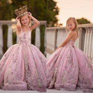 2020 Принцесса Спагетти ремень Аппликация из бисера цветок девочки платья кружева назад Pearls Длинной бального платья девушки Pageant День рождения платье