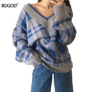 RUGOD A cuadros de punto suelto suéter de invierno 2018 cómodo suéter femenino con cuello en v mujeres suéteres y suéteres mujer