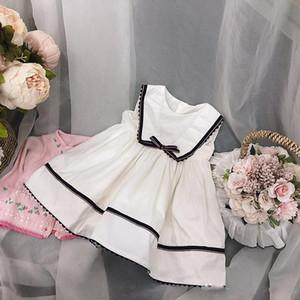 Bebek kız tasarımcı giyim elbise İspanya Stil butik Kolsuz Bej Renk yay Tasarım kız elbise yaz kız giyim elbise