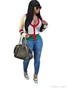Womens righe Tops profondo scollo a V cardigan maniche lunghe Sexy Ladies magliette con tasche femminile Abbigliamento