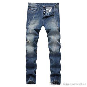 Светло-Голубые Прямые Длинные Мужские Джинсы Средней Талии Обычная Промытая Молния Fly Мужские Джинсы Мужская Одежда