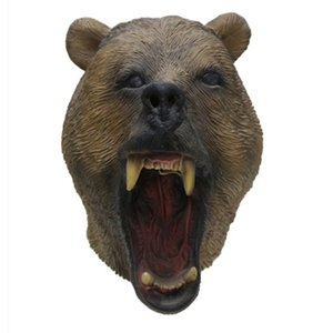 Best Selling Realistic grizzly Halloween Latex Bear Head Mask Pet Supplies Home Garden