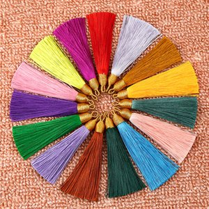 3 '' Ice Silk Gold Thread Cap Pendientes Borla Recorte Colgante de joyería DIY 15 colores opción
