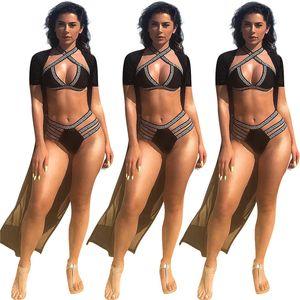 Costume da bagno donna Sexy Cardigan stampato T-shirt manica corta baskbreker halter bikini a fascia Costume da bagno a tre pezzi Lady Set N19.6-1900