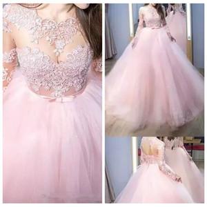 얇은 긴 소매 레이스 아플리케 Tulle Pink Quinceanera Dresses 2019 레이스 업 뒤로 스윕 기차 긴 베스 티드 드 파티 파티 드레스 저렴한