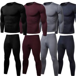 2019 зима теплая 2Pcs Мужчины белье Лонг Джонс термобельё Верх Низ брюки плюс размер L-2XL