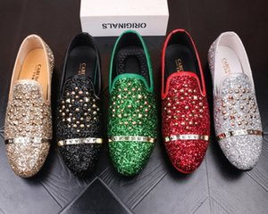 NEW Men's designer casual shoes, rivet silver sequins breathable casual leather shoes, men's Oxford luxe shoes b15