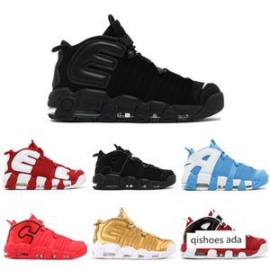 More UPTEMPO Basketball Shoes GS Olympic chi qs chicago 96 Bulls UNC Cool Grey White Metallic Gold Men Sport Sneakers US 7-12