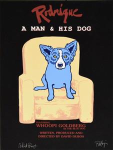 A133 # George Rodrigue Blue Dog Rodrigue Un homme et son chien Home Décor peint à la main HD Imprimer Peinture à l'huile sur toile mur Photos 200117