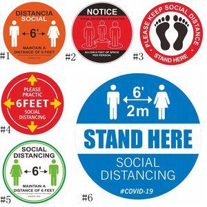 PVC Waterproof Floor Sticker Marking Tape Keep Your Distance 6ft Sign Floor Social Distance Sticker EEA1776