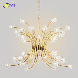 FUMAT Fiore in vetro dorato K9 Cristallo acciaio inossidabile Stainess Lampada a sospensione a LED Personalità minimalista di lusso Lustri Lampada in cristallo trasparente