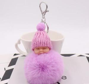 Автомобиль брелоки игрушка из искусственного меха кролик Pom ПОНА Трикотажного Hat Baby Doll брелок Сладкого Пушистый помпонного спать младенец Key Chain Модные подарки LXL918Q