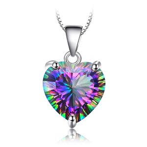 Hot Selling Beautiful 925 Silver Plated Rainbow Mystic Topaz Heart Pendant Necklace Womens Engagemant Wedding Party Gift Daily Wear Jewelry