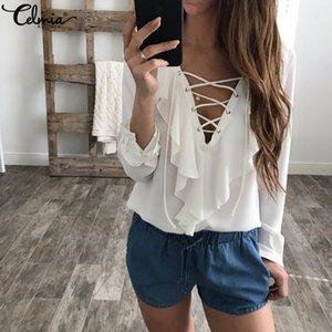 Hasta cuello en V manga larga volante Celmia verano de las mujeres de la blusa de la gasa de la blusa superior atractiva del cordón de la camisa ocasional más el tamaño Blusa Femenina Q190425