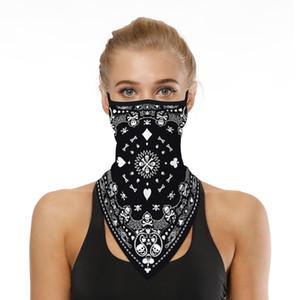 Üçgen Bandana Yüz Shield Asma Kulak Tüpü Eşarp Buz İpek Boyun tozluk Kapak Karşıtı UV Nefes Kafa Yüz Kapak Erkekler Kadınlar Smooth